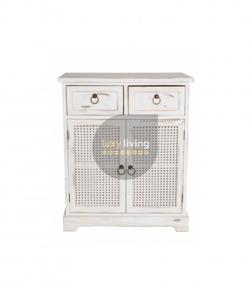 Florent French Chic Double Door Drawer Cabinet - Washed White