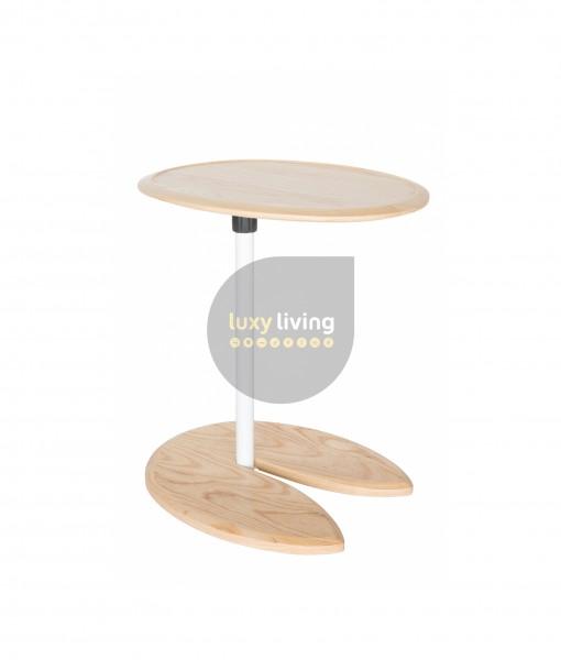 Replica Eileen Gray Adjustable Cigarette Table - White & Natural