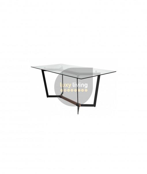 Alpha Glass Dining Table - Black & walnut 180cm