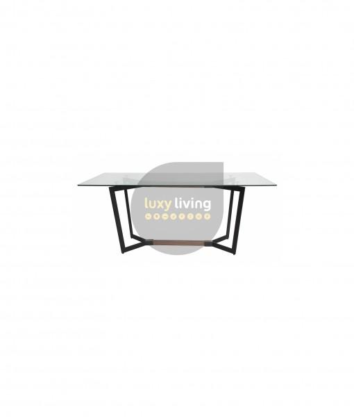 Delta Glass Dining Table - Matte Black & Walnut - 180cm