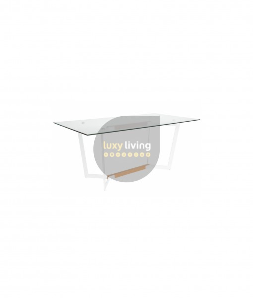 Alpha Glass Dining Table - White & Natural - 180cm