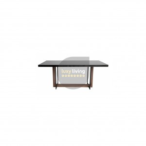 Kierra Dining Table - Matte Black Base, Walnut & Gloss Black Top - 180cm