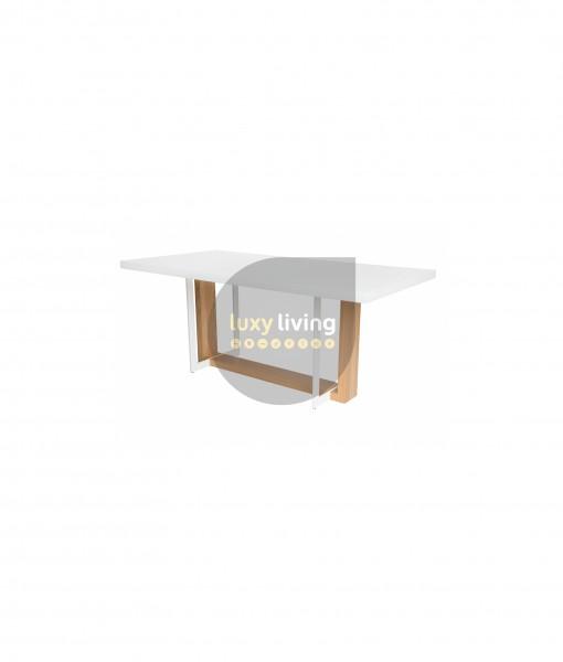 KARA Dining Table - White & Natural - 180cm