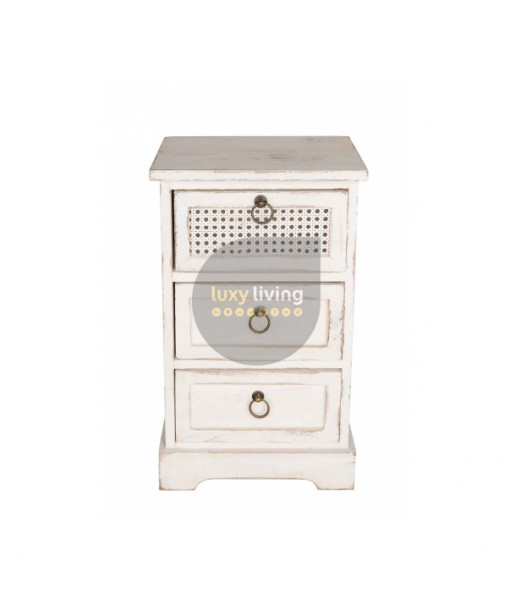 French Chic Bedside / Side Table 3 Drawers - Washed White