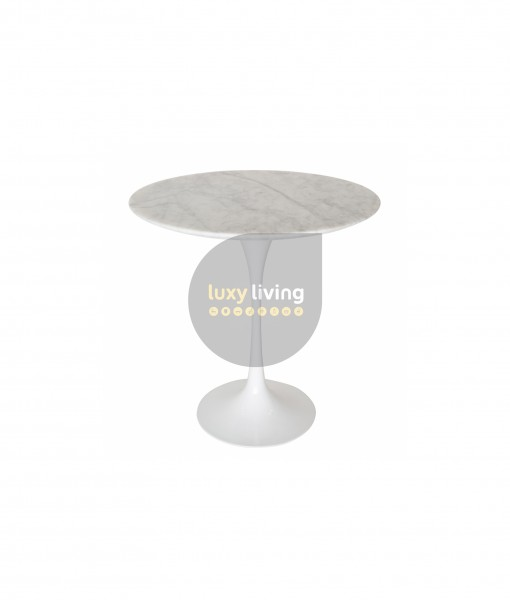 Replica Eero Saarinen Tulip Marble Side Table - White