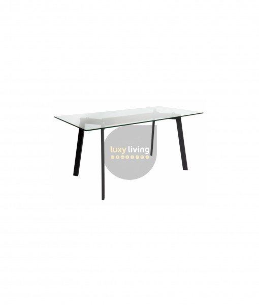 VUE Collection - Dining Table - Matte Black & Walnut - 160cm