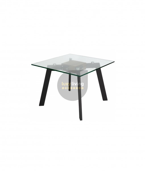 VUE Collection - Side Table - Matte Black & Walnut - 60cm
